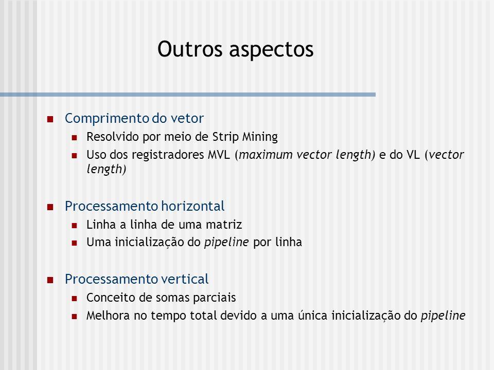 Outros aspectos Comprimento do vetor Resolvido por meio de Strip Mining Uso dos registradores MVL (maximum vector length) e do VL (vector length) Proc