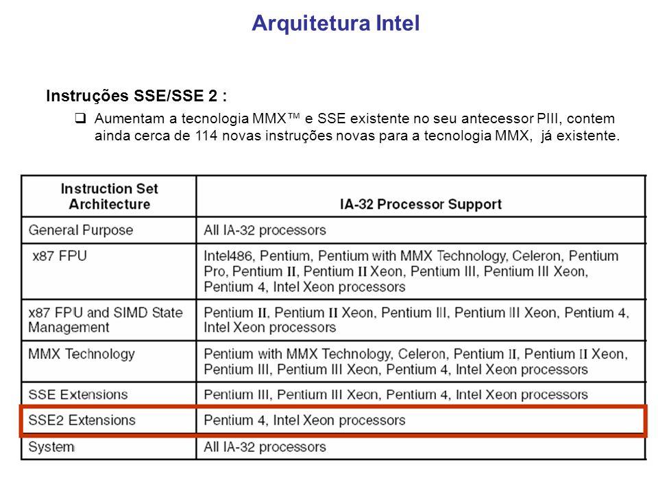 8 Instruções SSE/SSE 2 : Aumentam a tecnologia MMX e SSE existente no seu antecessor PIII, contem ainda cerca de 114 novas instruções novas para a tecnologia MMX, já existente.