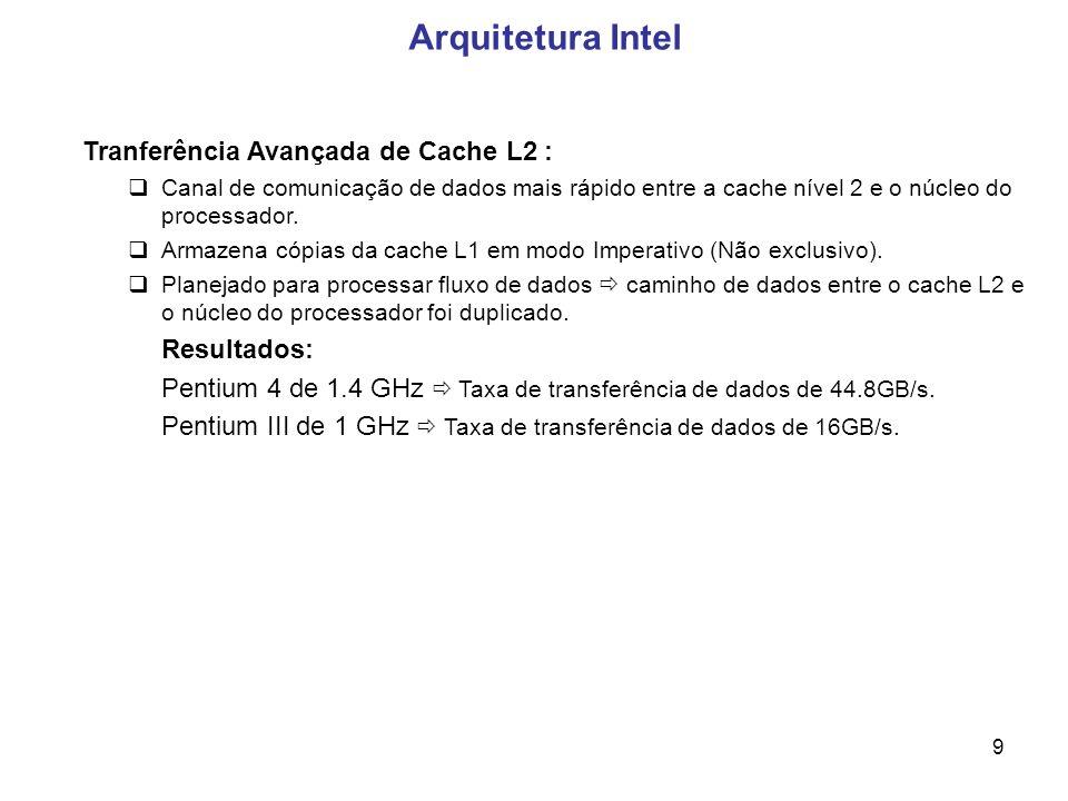 9 Arquitetura Intel Tranferência Avançada de Cache L2 : Canal de comunicação de dados mais rápido entre a cache nível 2 e o núcleo do processador.