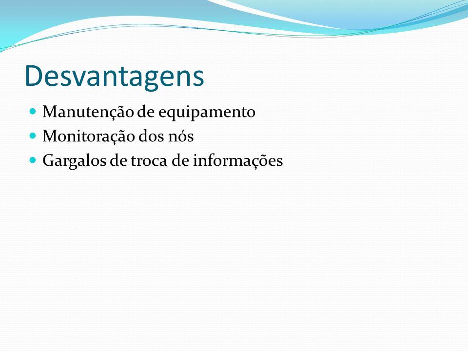 Desvantagens Manutenção de equipamento Monitoração dos nós Gargalos de troca de informações