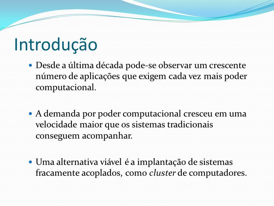 Introdução Cluster é um sistema interligado com mais de um computador, cujo objetivo é fazer com que todo o processamento da aplicação seja distribuído entre os processadores, de uma forma transparente, ou seja, aparentando um único processador.
