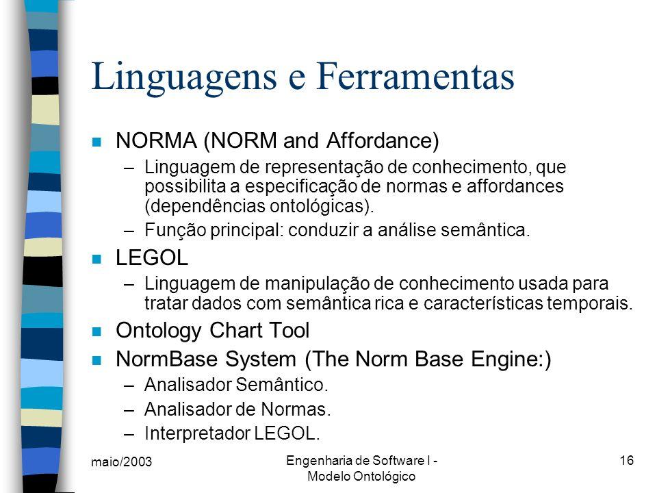 maio/2003 Engenharia de Software I - Modelo Ontológico 16 n NORMA (NORM and Affordance) –Linguagem de representação de conhecimento, que possibilita a