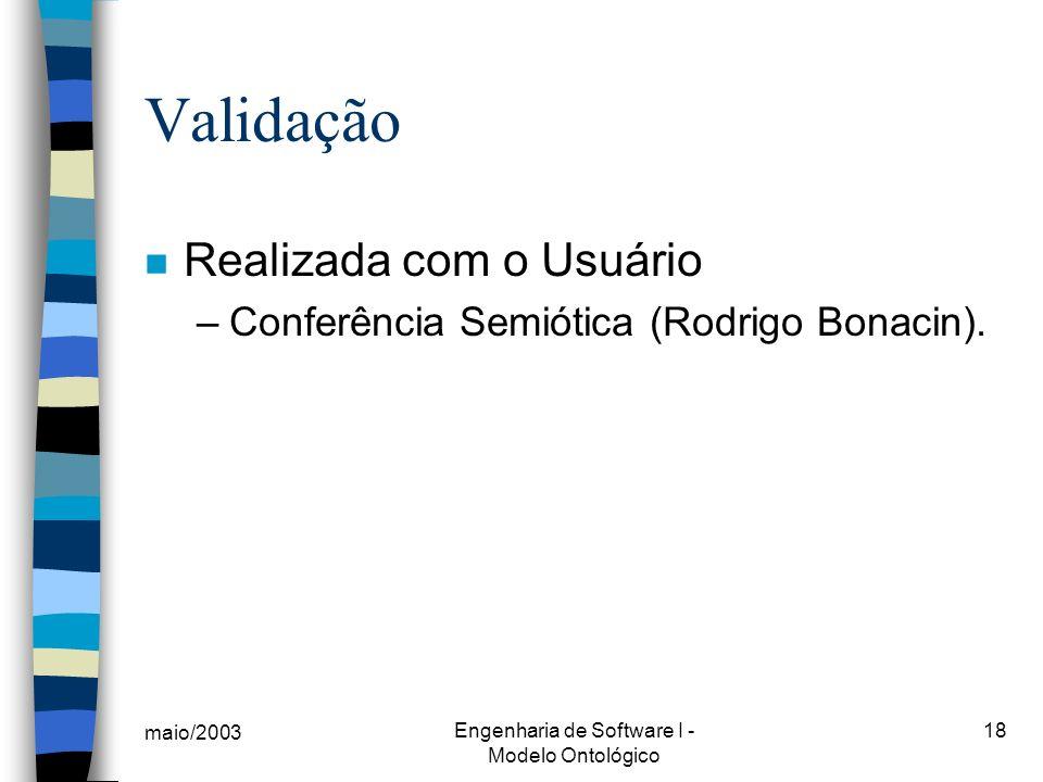 maio/2003 Engenharia de Software I - Modelo Ontológico 18 Validação n Realizada com o Usuário –Conferência Semiótica (Rodrigo Bonacin).