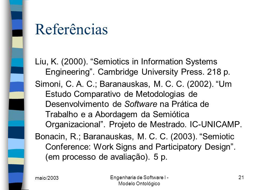 maio/2003 Engenharia de Software I - Modelo Ontológico 21 Referências Liu, K. (2000). Semiotics in Information Systems Engineering. Cambridge Universi