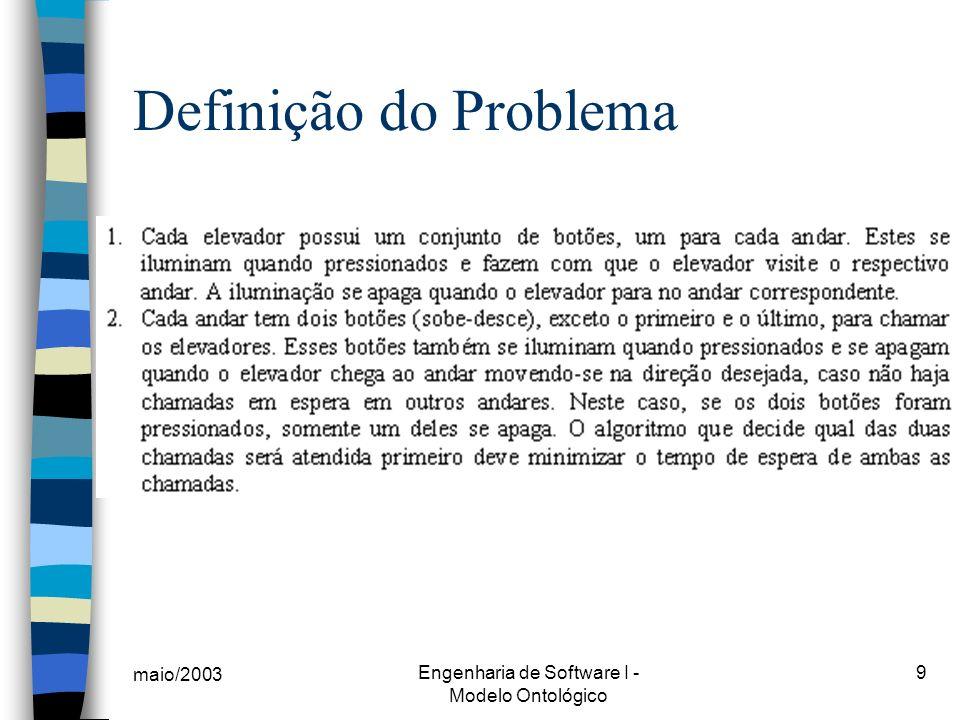 maio/2003 Engenharia de Software I - Modelo Ontológico 20 Conclusão (cont.) K Não comercial; Ferramentas desenvolvidas ainda incipientes; Foca na investigação do problema, na análise de requisitos; Há várias pesquisas em andamento (ex: Inglaterra, Brasil).