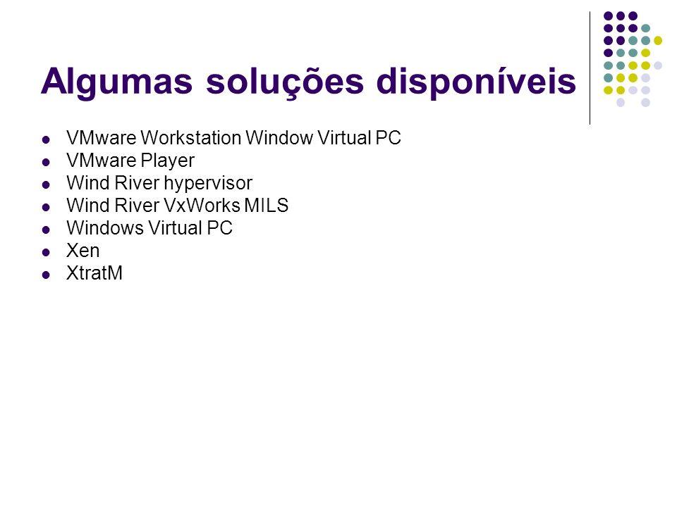 Algumas soluções disponíveis VMware Workstation Window Virtual PC VMware Player Wind River hypervisor Wind River VxWorks MILS Windows Virtual PC Xen X