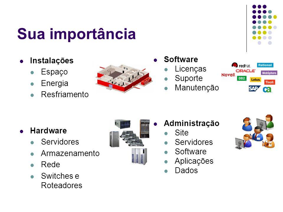Sua importância Instalações Espaço Energia Resfriamento Hardware Servidores Armazenamento Rede Switches e Roteadores Software Licenças Suporte Manuten