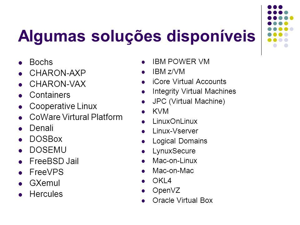 Algumas soluções disponíveis Bochs CHARON-AXP CHARON-VAX Containers Cooperative Linux CoWare Virtural Platform Denali DOSBox DOSEMU FreeBSD Jail FreeV