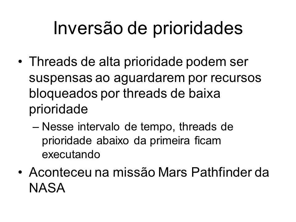 Inversão de prioridades Threads de alta prioridade podem ser suspensas ao aguardarem por recursos bloqueados por threads de baixa prioridade –Nesse intervalo de tempo, threads de prioridade abaixo da primeira ficam executando Aconteceu na missão Mars Pathfinder da NASA