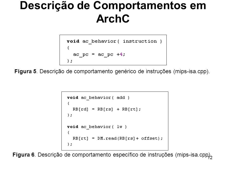 12 Figura 6. Descrição de comportamento específico de instruções (mips-isa.cpp). Descrição de Comportamentos em ArchC Figura 5. Descrição de comportam