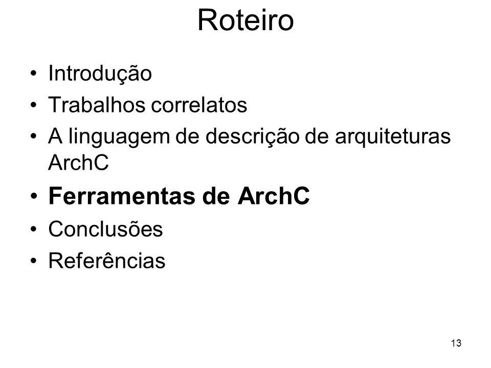 13 Roteiro Introdução Trabalhos correlatos A linguagem de descrição de arquiteturas ArchC Ferramentas de ArchC Conclusões Referências