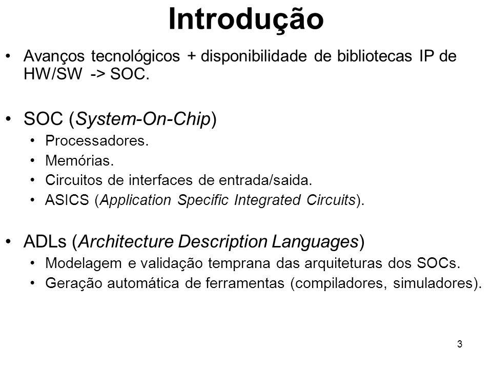 3 Introdução Avanços tecnológicos + disponibilidade de bibliotecas IP de HW/SW -> SOC. SOC (System-On-Chip) Processadores. Memórias. Circuitos de inte