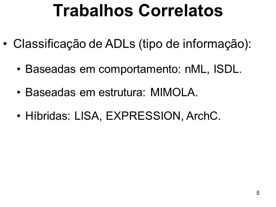 5 Trabalhos Correlatos Classificação de ADLs (tipo de informação): Baseadas em comportamento: nML, ISDL. Baseadas em estrutura: MIMOLA. Híbridas: LISA