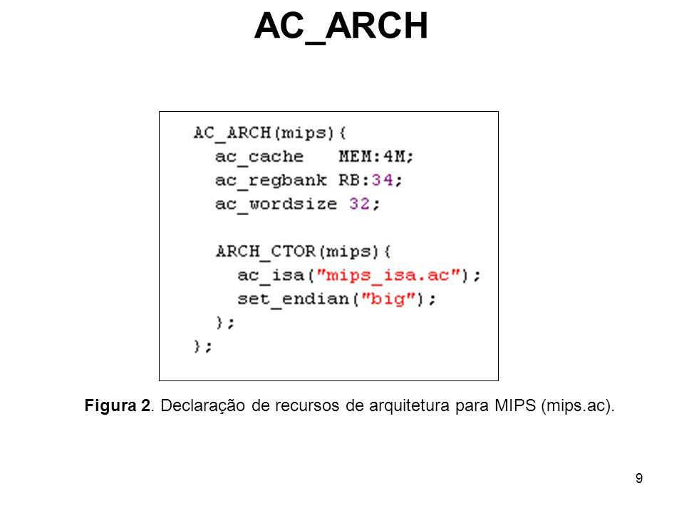 9 AC_ARCH Figura 2. Declaração de recursos de arquitetura para MIPS (mips.ac).