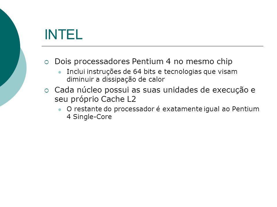 INTEL Dois processadores Pentium 4 no mesmo chip Inclui instruções de 64 bits e tecnologias que visam diminuir a dissipação de calor Cada núcleo possui as suas unidades de execução e seu próprio Cache L2 O restante do processador é exatamente igual ao Pentium 4 Single-Core