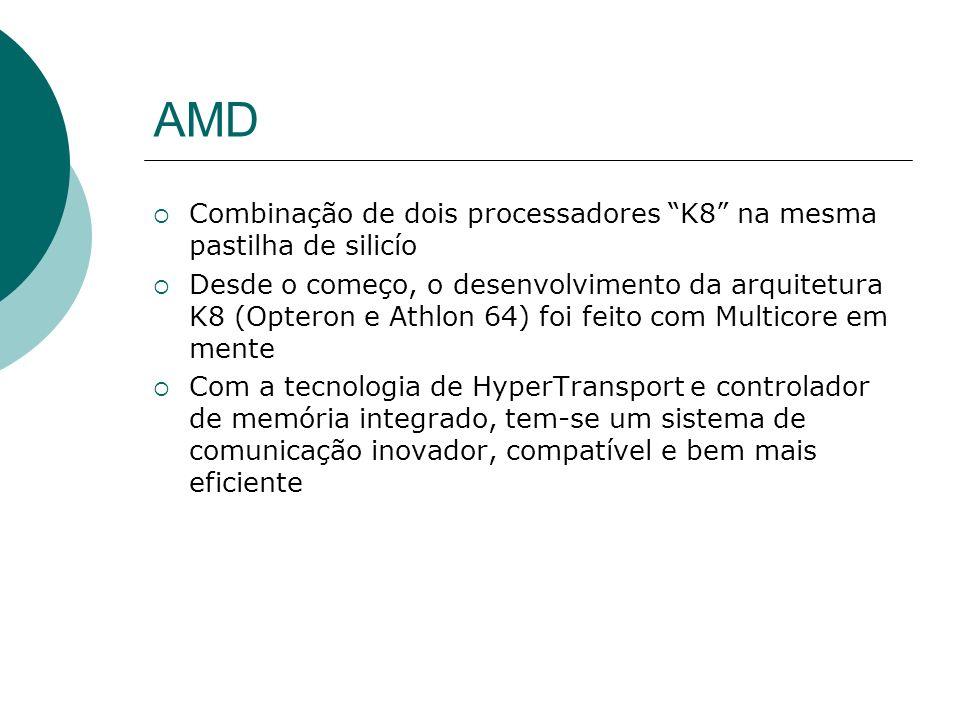 AMD Combinação de dois processadores K8 na mesma pastilha de silicío Desde o começo, o desenvolvimento da arquitetura K8 (Opteron e Athlon 64) foi feito com Multicore em mente Com a tecnologia de HyperTransport e controlador de memória integrado, tem-se um sistema de comunicação inovador, compatível e bem mais eficiente