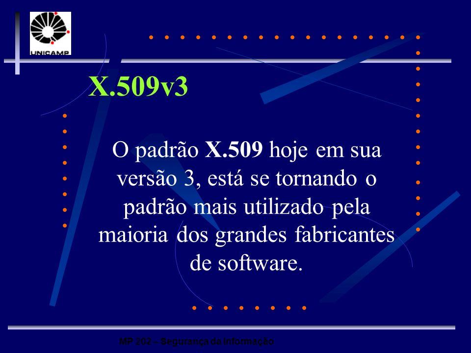 MP 202 – Segurança da Informação X.509v3 O padrão X.509 hoje em sua versão 3, está se tornando o padrão mais utilizado pela maioria dos grandes fabric
