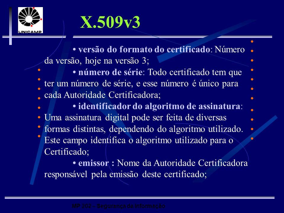 MP 202 – Segurança da Informação versão do formato do certificado: Número da versão, hoje na versão 3; número de série: Todo certificado tem que ter u