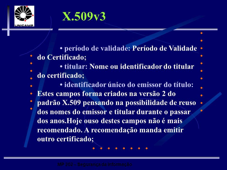 MP 202 – Segurança da Informação período de validade: Período de Validade do Certificado; titular: Nome ou identificador do titular do certificado; id