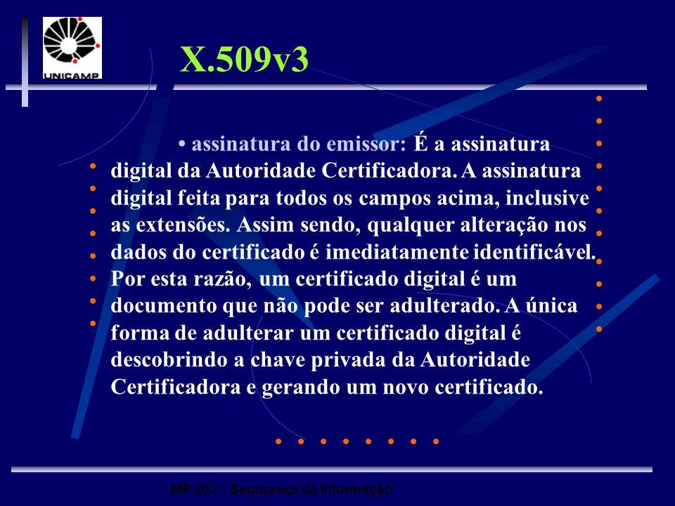 MP 202 – Segurança da Informação assinatura do emissor: É a assinatura digital da Autoridade Certificadora. A assinatura digital feita para todos os c
