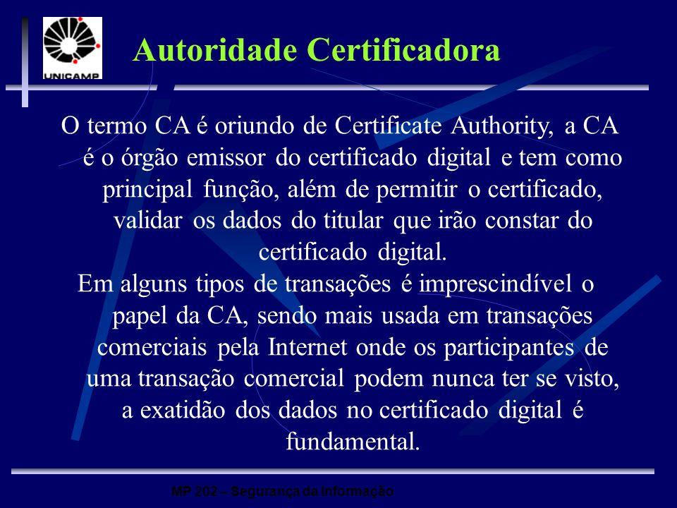 MP 202 – Segurança da Informação O termo CA é oriundo de Certificate Authority, a CA é o órgão emissor do certificado digital e tem como principal fun