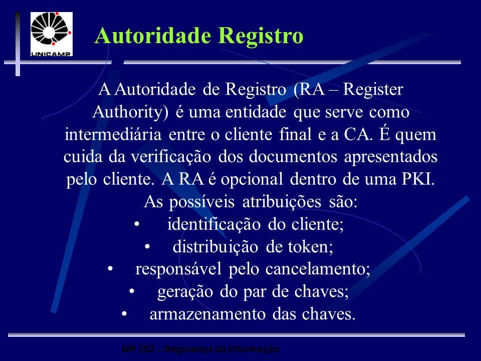 MP 202 – Segurança da Informação A Autoridade de Registro (RA – Register Authority) é uma entidade que serve como intermediária entre o cliente final