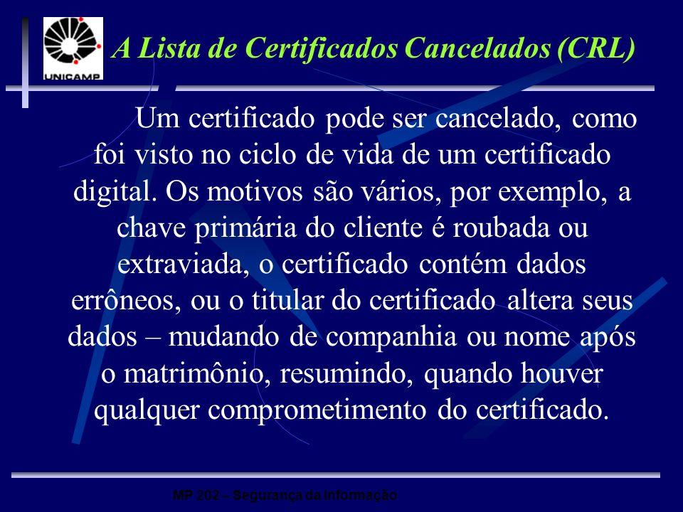 MP 202 – Segurança da Informação Um certificado pode ser cancelado, como foi visto no ciclo de vida de um certificado digital. Os motivos são vários,
