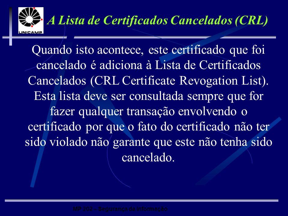 MP 202 – Segurança da Informação Quando isto acontece, este certificado que foi cancelado é adiciona à Lista de Certificados Cancelados (CRL Certifica