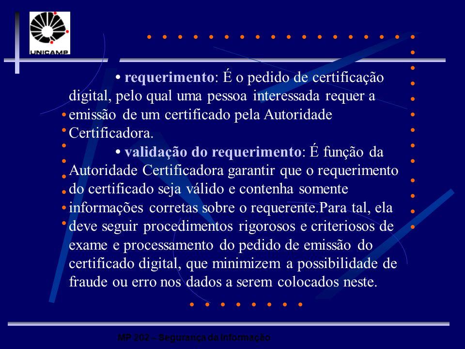 MP 202 – Segurança da Informação requerimento: É o pedido de certificação digital, pelo qual uma pessoa interessada requer a emissão de um certificado