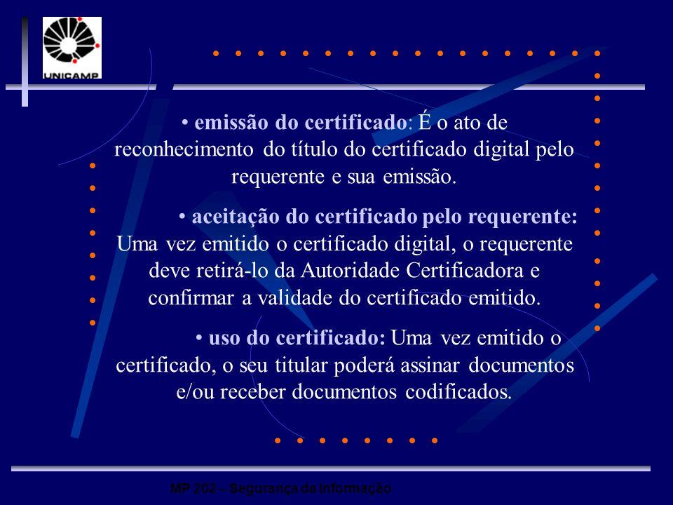 MP 202 – Segurança da Informação emissão do certificado: É o ato de reconhecimento do título do certificado digital pelo requerente e sua emissão. ace