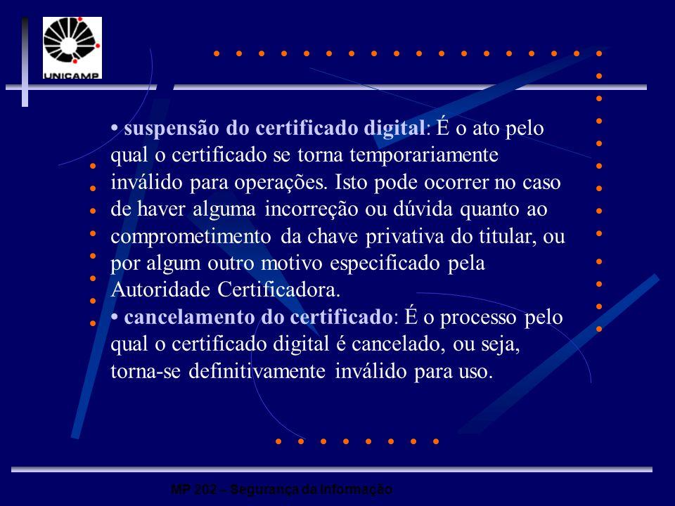 MP 202 – Segurança da Informação suspensão do certificado digital: É o ato pelo qual o certificado se torna temporariamente inválido para operações. I