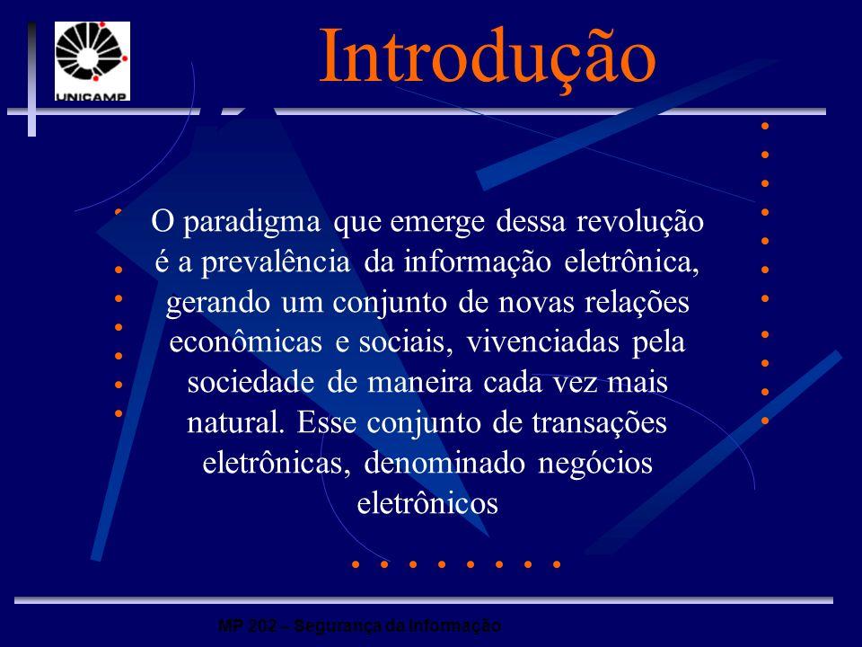 MP 202 – Segurança da Informação Introdução A informação, dentro das transações eletrônicas, deve ter os seguintes requisitos: