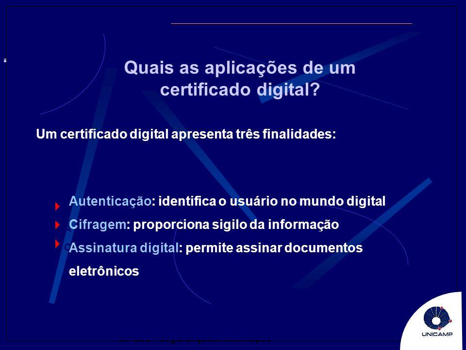 MP 202 – Segurança da Informação Um certificado digital apresenta três finalidades: Quais as aplicações de um certificado digital? A C Autenticação: i