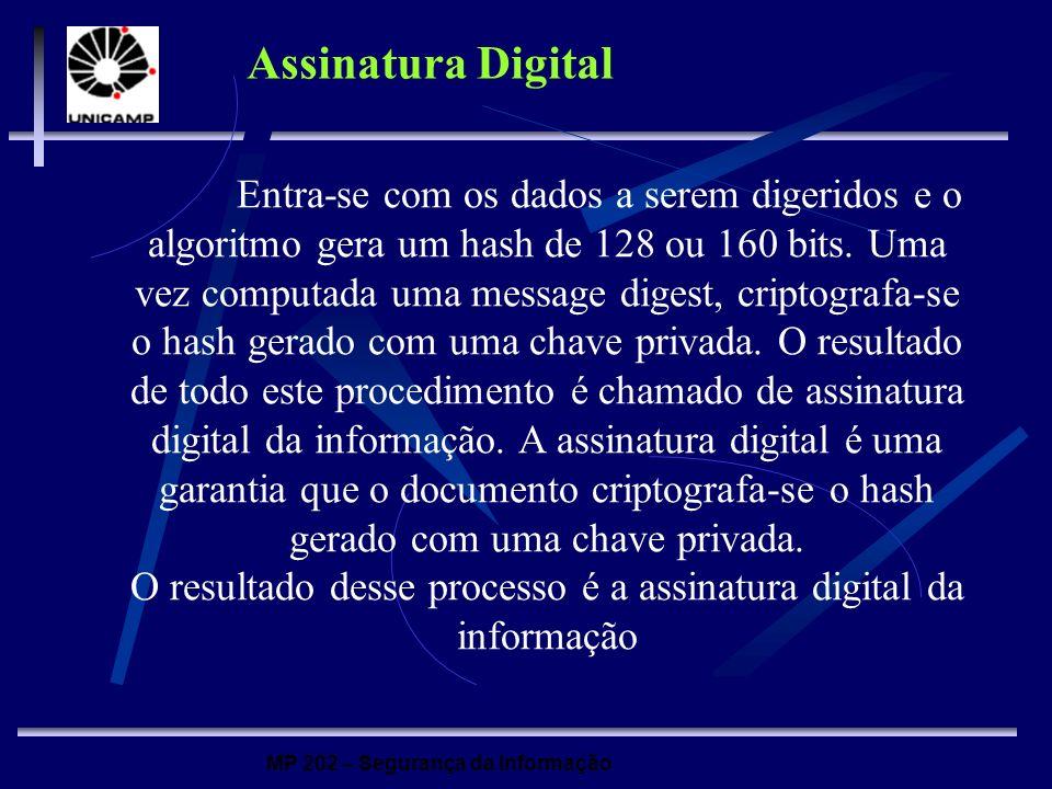 MP 202 – Segurança da Informação Assinatura Digital Entra-se com os dados a serem digeridos e o algoritmo gera um hash de 128 ou 160 bits. Uma vez com