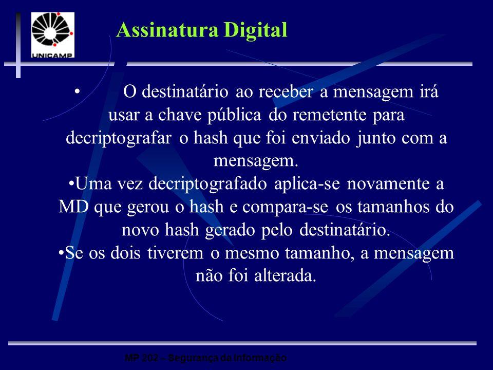 MP 202 – Segurança da Informação Assinatura Digital O destinatário ao receber a mensagem irá usar a chave pública do remetente para decriptografar o h