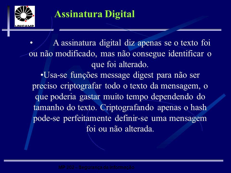 MP 202 – Segurança da Informação Assinatura Digital A assinatura digital diz apenas se o texto foi ou não modificado, mas não consegue identificar o q