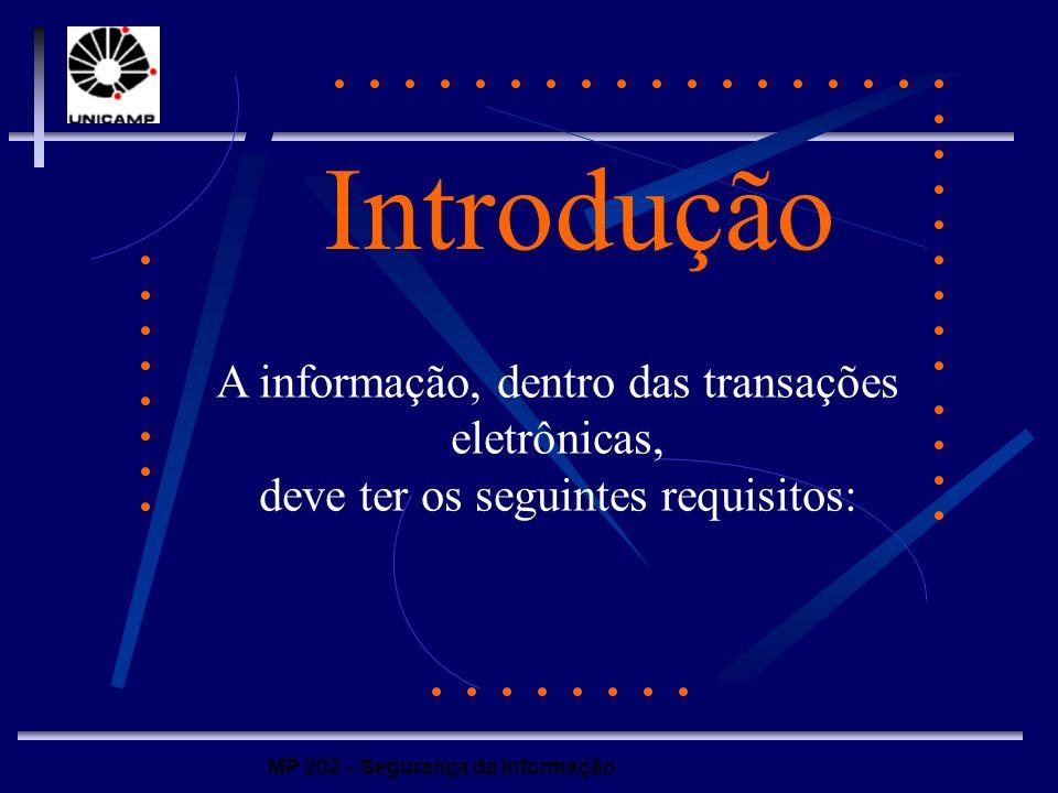 MP 202 – Segurança da Informação Introdução Disponibilidade: o documento, ou informação, deve estar disponível ininterruptamente, para novo tratamento ou utilização.