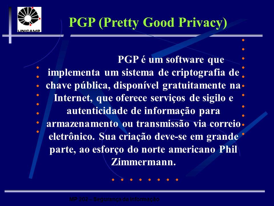 MP 202 – Segurança da Informação PGP é um software que implementa um sistema de criptografia de chave pública, disponível gratuitamente na Internet, q