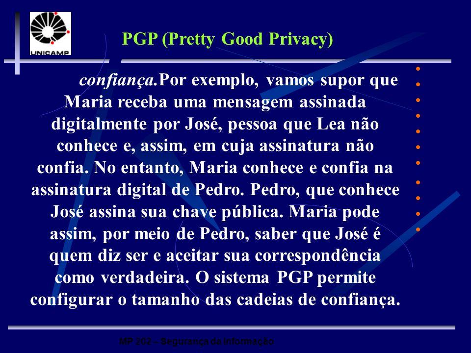 MP 202 – Segurança da Informação confiança.Por exemplo, vamos supor que Maria receba uma mensagem assinada digitalmente por José, pessoa que Lea não c
