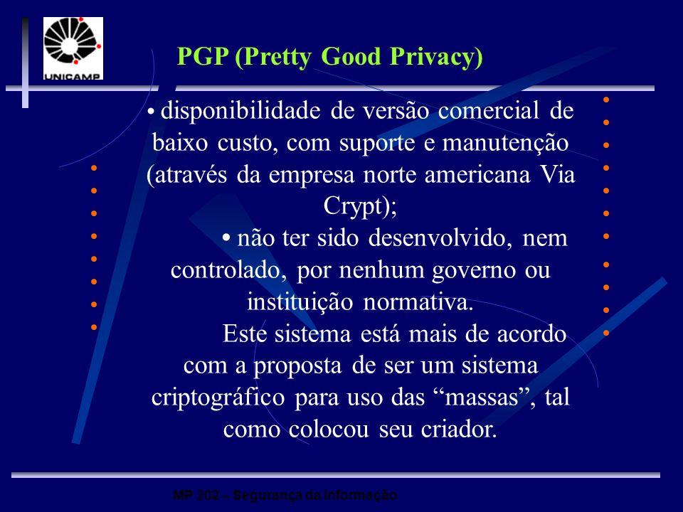MP 202 – Segurança da Informação PGP (Pretty Good Privacy) disponibilidade de versão comercial de baixo custo, com suporte e manutenção (através da em