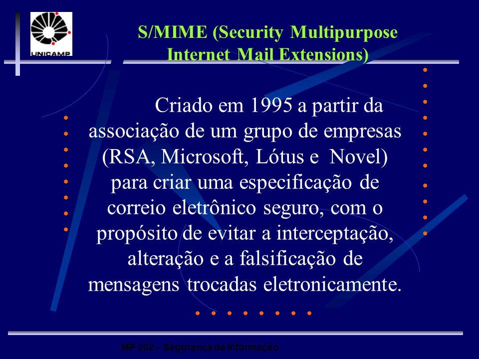 MP 202 – Segurança da Informação Criado em 1995 a partir da associação de um grupo de empresas (RSA, Microsoft, Lótus e Novel) para criar uma especifi