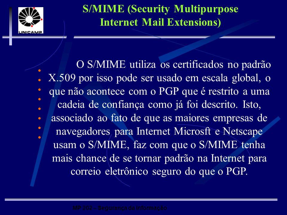 MP 202 – Segurança da Informação O S/MIME utiliza os certificados no padrão X.509 por isso pode ser usado em escala global, o que não acontece com o P