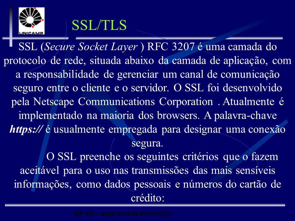 MP 202 – Segurança da Informação SSL (Secure Socket Layer ) RFC 3207 é uma camada do protocolo de rede, situada abaixo da camada de aplicação, com a r