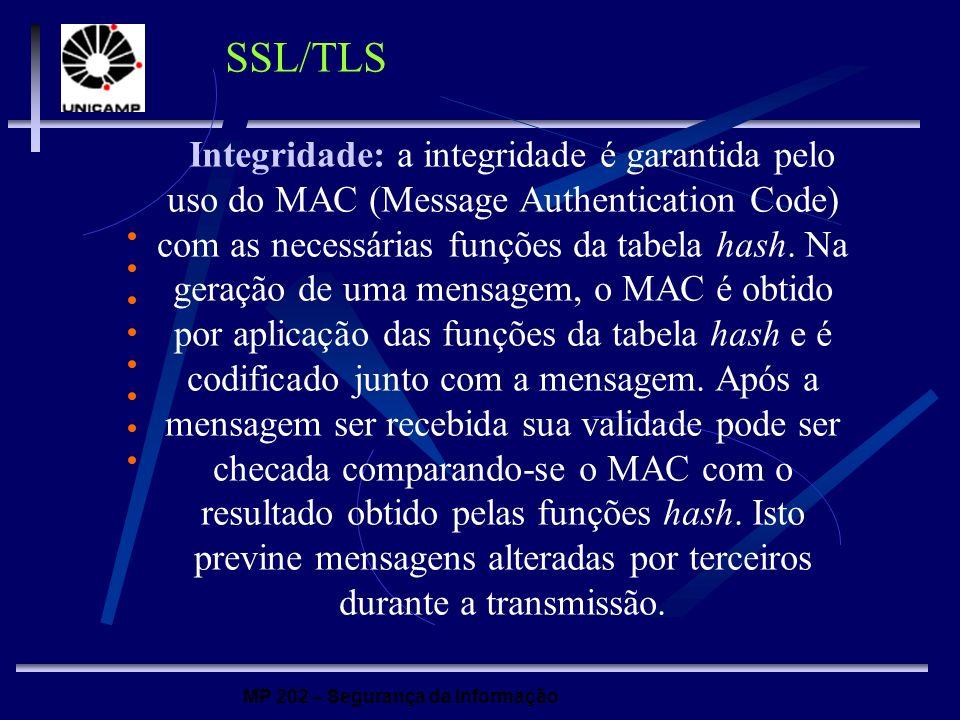 MP 202 – Segurança da Informação SSL/TLS Integridade: a integridade é garantida pelo uso do MAC (Message Authentication Code) com as necessárias funçõ