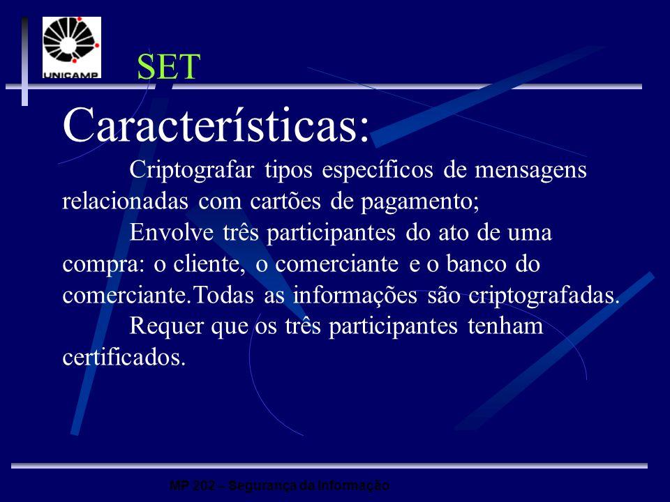MP 202 – Segurança da Informação Características: Criptografar tipos específicos de mensagens relacionadas com cartões de pagamento; Envolve três part