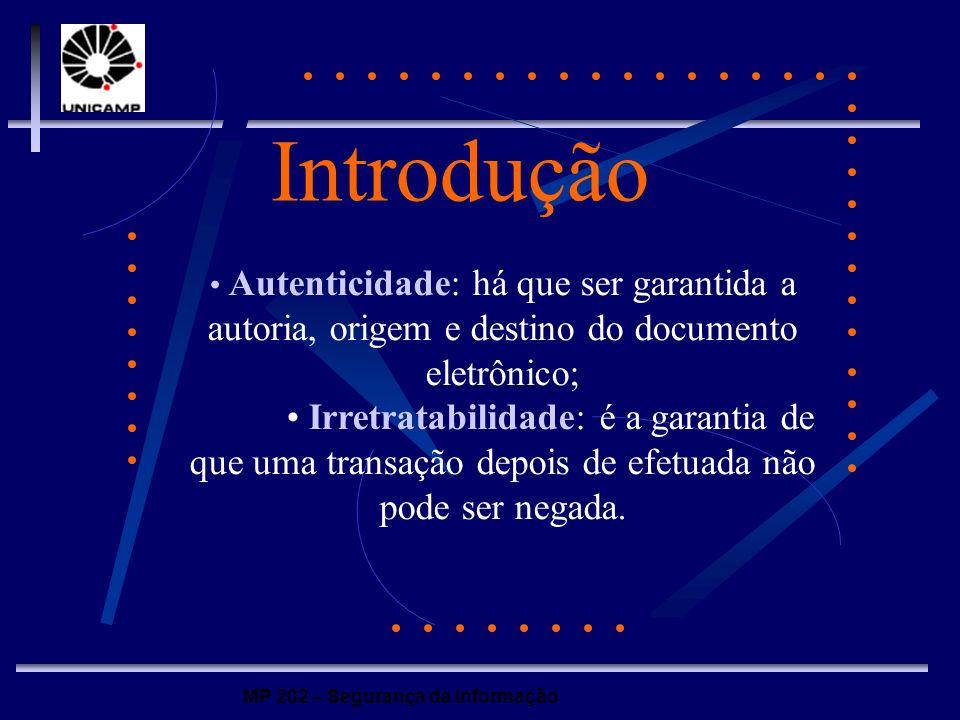 MP 202 – Segurança da Informação Introdução Autenticidade: há que ser garantida a autoria, origem e destino do documento eletrônico; Irretratabilidade