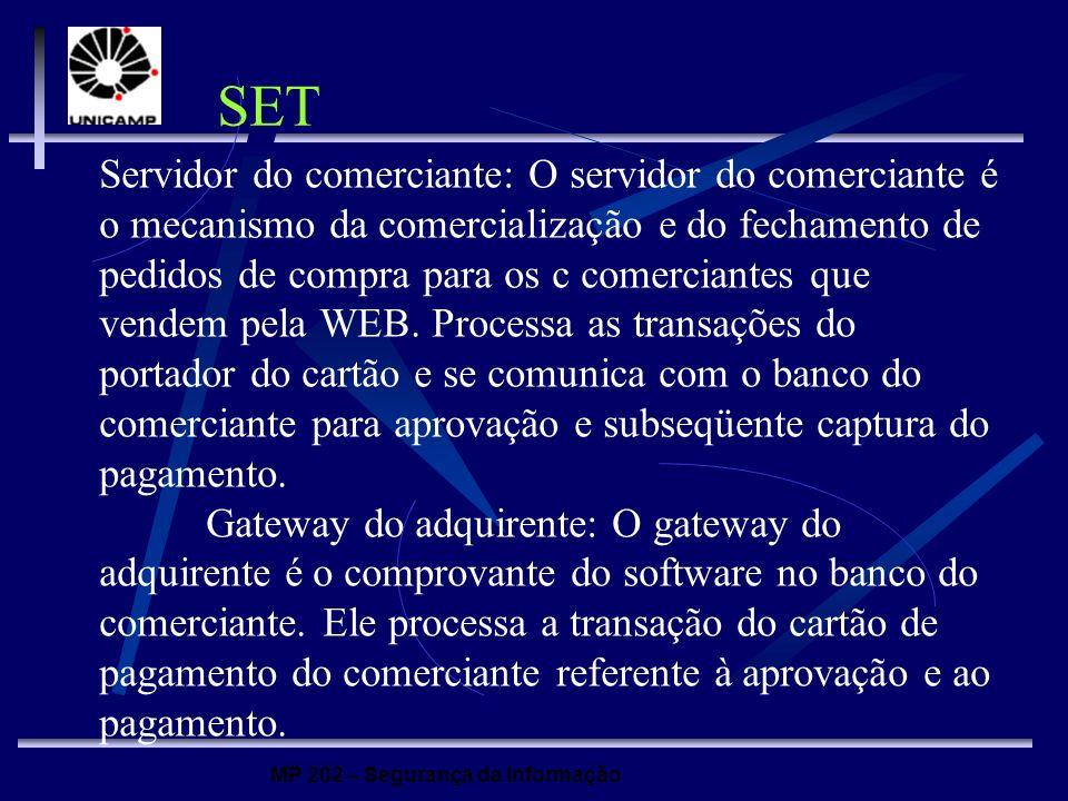 MP 202 – Segurança da Informação Servidor do comerciante: O servidor do comerciante é o mecanismo da comercialização e do fechamento de pedidos de com