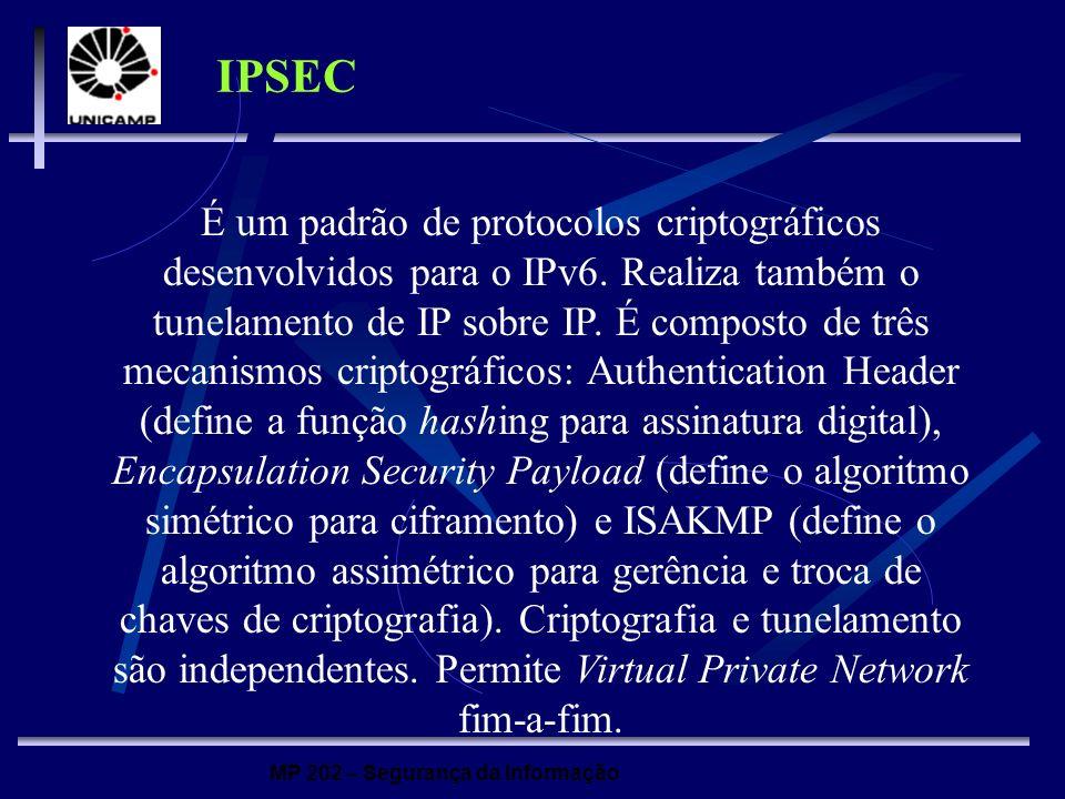 MP 202 – Segurança da Informação IPSEC É um padrão de protocolos criptográficos desenvolvidos para o IPv6. Realiza também o tunelamento de IP sobre IP