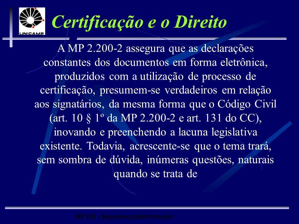 MP 202 – Segurança da Informação Certificação e o Direito A MP 2.200-2 assegura que as declarações constantes dos documentos em forma eletrônica, prod