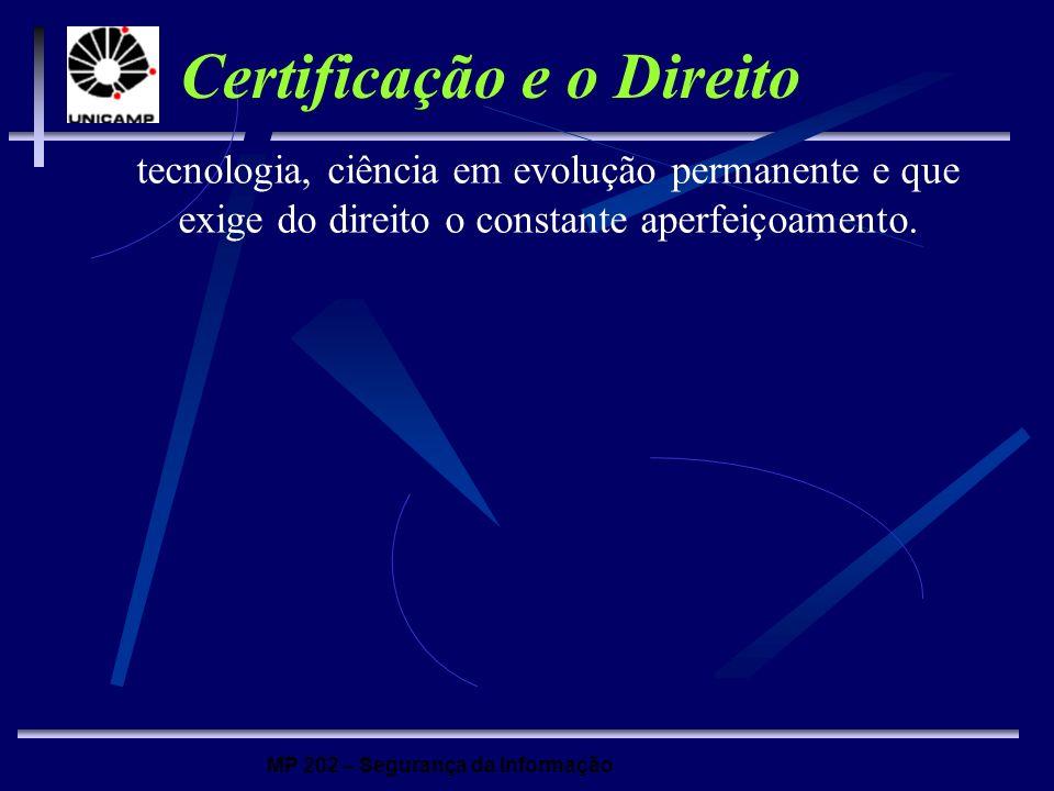 MP 202 – Segurança da Informação Certificação e o Direito tecnologia, ciência em evolução permanente e que exige do direito o constante aperfeiçoament